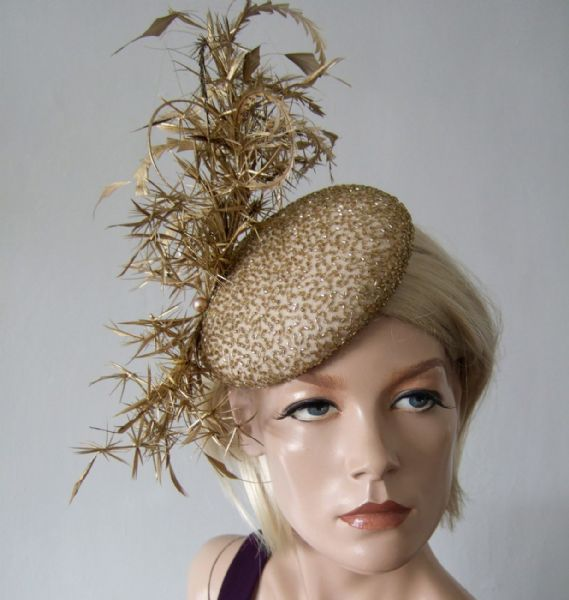 "Gold Silk Beaded and Feathered Smartie Headpiece Cocktail Ascot Hat ""Olivia"""
